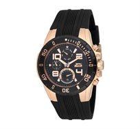 שעון מתכת לגבר SLAZENGER עם רצועת סיליקון בצבע שחור