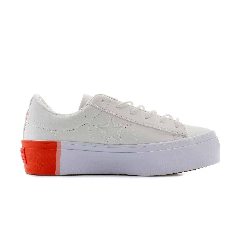 נעלי סניקרס All Star נמוכות עם פלטפורמה לנשים - לבן וכתום