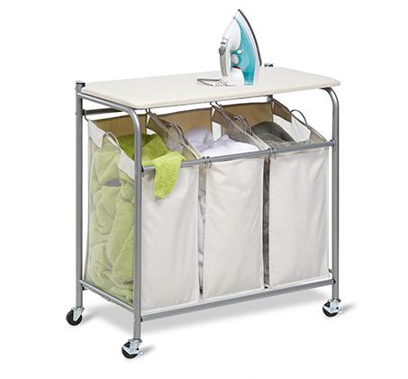 סל מעוצב לכביסה בעל 3 תאים עם קרץ גיהוץ עליון