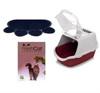 ערכת חידוש שירותים לחתול הכוללת ארגז, שטיח לארגז, תוסף ריח לחול ועוד