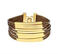 צמיד צינורות מלבנים בציפוי זהב 24 קראט עם עור בצבע ברונזה