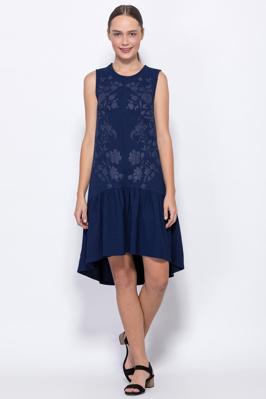 שמלת טקסטורה ללא שרוולים עם הדפס