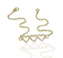 צמיד זהב לבבות 14 קראט משובץ 48 יהלומים