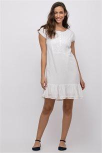 שמלה בשילוב רקמה וסיומת פפלום