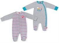 זוג אוברולים לתינוק כותנה טריקו 0-3 חודשים - אפור
