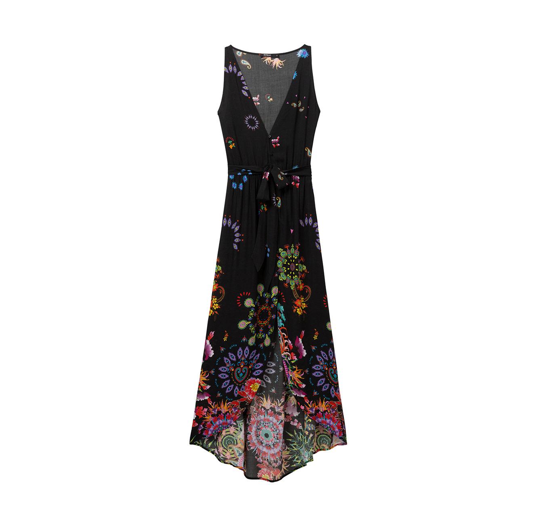 שמלת חוף מקסי בהדפס פרחוני וגיאומטרי לאישה Magda - שחור/צבעוני
