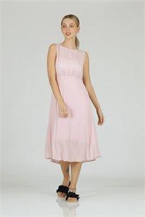 שמלה חור בגב ורוד -