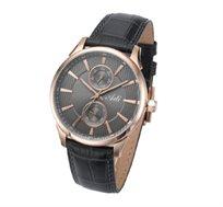 שעון יד לגבר בעיצוב מחוספס וגברי מבית ADI עשוי פלדת אל חלד בציפוי רוז' גולד ורצועת עור אמיתי