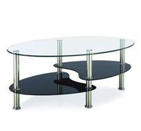 שולחן סלון דו-מדפי בשילוב ניקל וזכוכית מבית Homax