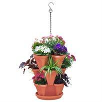 סט עציצים משולב, חכם עם מערכת השקיה עצמית לפרחים, ירקות ותבלינים