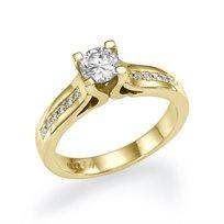"""טבעת אירוסין זהב צהוב """"ג'ניפר"""" 0.52 קראט בשיבוץ Prong מעוצב ונקי"""