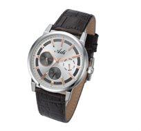שעון יד לגבר מבית ADI בעיצוב אלגנטי ויוקרתי, עשוי פלדת אל חלד ורצועת עור אמיתי, עמיד במים עד 50M
