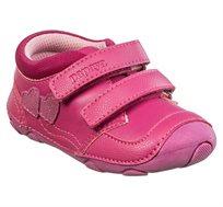 נעלי צעד ראשון לבנות דגם סופטי לבבות בצבע פוקסיה