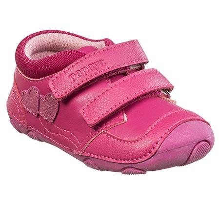 נעלי צעד ראשון לבנות דגם סופטי לבבות - פוקסיה
