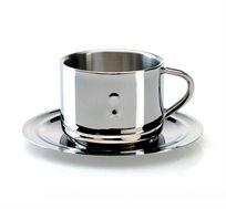 ספל קפה וצלוחית מנירוסטה בגימור מבריק BERGHOFF