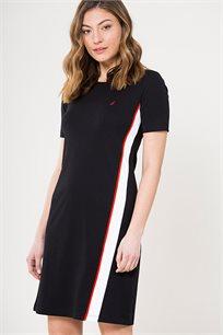 שמלה עם צווארון עגול לנשים Nautica בצבע שחור/לבן/אדום