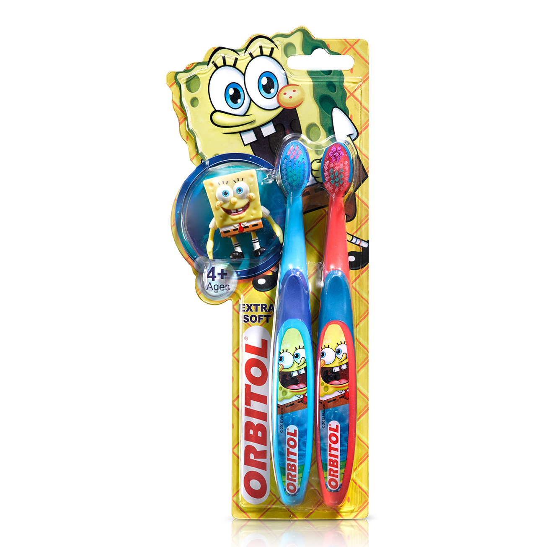 צמד מברשות שיניים לילדים בובספוג