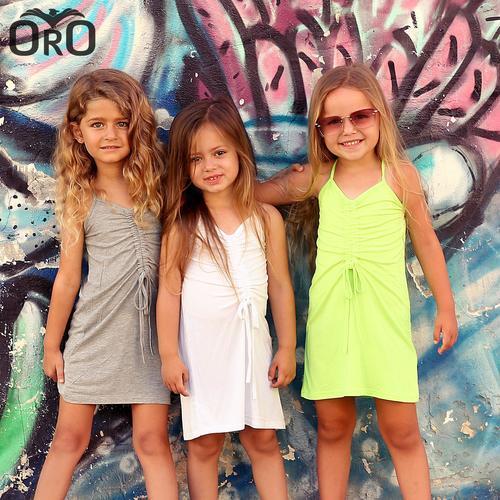 שמלת Oro לילדות (מידות 2-7 שנים) קשירה אפורה