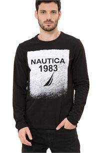חולצת טי שרט ארוכה Nautica עם צווארון עגול לגברים דגם 93902V0TB בצבע שחור