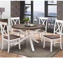 פינת אוכל עגולה מעץ מלא משולב בעיצוב מודרני כוללת שולחן ו-4 כסאות HOME DECOR