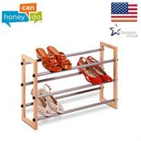 """מעמד נעליים איכותי 3 קומות עם מסגרת עץ מבית honey can do ארה""""ב"""