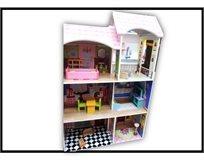 בית בובות עץ 6 חדרים מרוהט 100X60 ס''מ - מתאים לבובות ברבי!