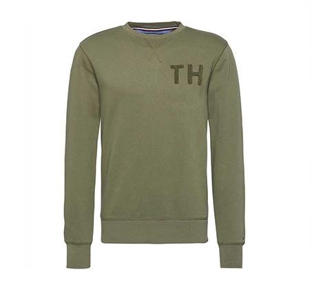 סווטשרט סגור לגבר עם לוגו קטן TOMMY HILFIGER - ירוק