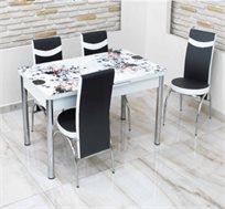 פינת אוכל נפתחת מזכוכית בצבעים שחור לבן כולל 4 כסאות