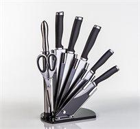סט סכינים 7 חלקים מפלדת אל חלד עם מעמד אקרילי מהודר
