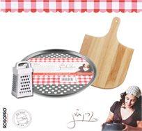 """סט לוהט! מגש אפייה עגול ומחורר לפיצה בקוטר 31 ס""""מ מבית Rosopro, מסדרת """"מותק של כלים"""" קרין גורן"""