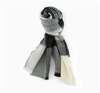 צעיף חורפי משובץ לנשים בצבע שחור/אפור/לבן