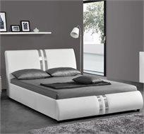 מיטה רחבה לנוער מעוצבת בריפוד דמוי עור עם פסים מוכספים דגם גלי HOME DECOR
