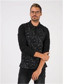 חולצת פולו עם הדפס גיאומטרי
