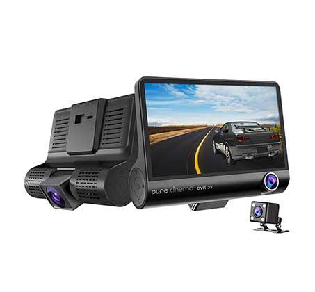 """מצלמת דרך לרכב רכב עם מסך """"4 וחיישן G איכות צילום 1080P צילום רחב 170° וסוללה נטענת דגם DVR-33 - משלוח חינם - תמונה 2"""