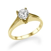 """טבעת אירוסין סוליטר זהב צהוב """"לואיז"""" 0.51 קראט בעיצוב אלגנטי ונקי"""