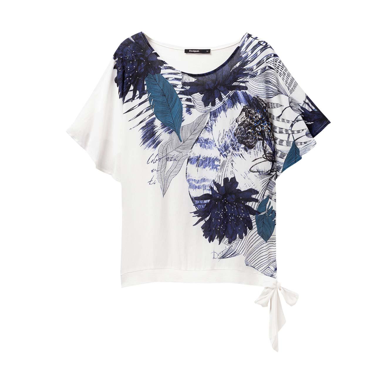 חולצה קצרה בהדפס פרחוני Floral Wichitas לנשים - לבן/כחול