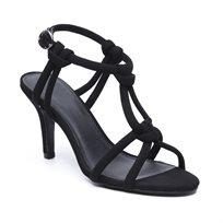 Seventy Nine - סנדל עקב מבד בצבע שחור עם רצועות קשורות