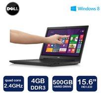 """מחשב נייד Dell דגם i3541-2000BK עם מסך מגע """"15.6, מעבד 4 ליבות, זיכרון 4GB, דיסק קשיח 500GB ו-WIN8.1"""