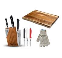 סט סכינים הכולל מעמד מעוצב עם משחיז סכינים + 6 סכינים + קרש חיתוך + כפפה להגנה FOOD APPEAL