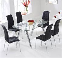 פינת אוכל בשילוב מרשים של זכוכית וניקל הנותנים מראה מרהיב כולל 6 כיסאות מרופדים דמוי עור מבית GAROX