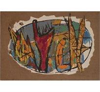 """""""קומפוזיציה"""" - ציורו של ינקו מרסל, טכניקה מעורבת וגבס על יוטה בשני גדלים לבחירה"""