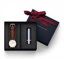 סט Daniel Wellington לגבר הכולל שעון יד Classic St Mawes + רצועת Classic Glasgow בצבע רוז גולד