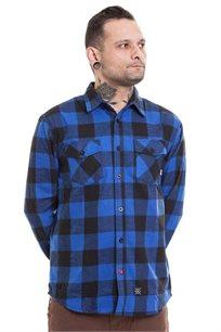 חולצת פלאנל SUPPLY - כחול ושחור