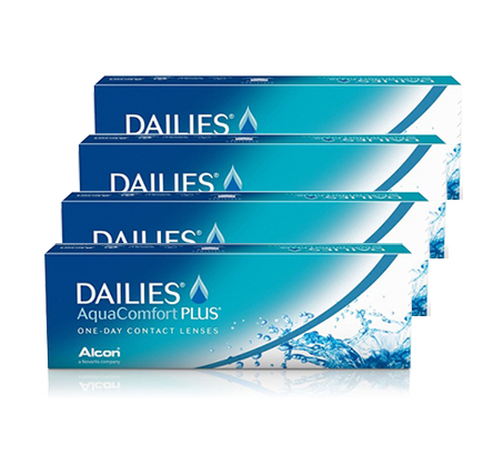 מארז 4 אריזות עדשות מגע יומיות DAILIES AquaComfort Plus אלקון