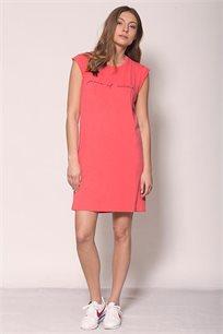 שמלה באורך מיני זוהרה Peace of Mind בצבע אדום דהוי עם כיתוב בצבע שחור