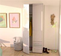 ארון 2 דלתות עם שידת מגירות לבן מבריק דגם מוטו מבית HOME DECOR
