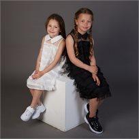 שמלת ORO לילדות (מידות 2-8 שנים) לבן פרנזים
