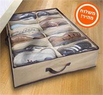 חוסכים מקום! ארגונית לאחסון של עד 12 זוגות נעליים מתחת למיטה או בארון