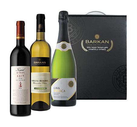 מארז חג הכולל 2 יינות וקאווה במזוודת עץ
