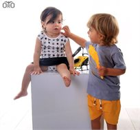 ORO שמלת בגד גוף טריקו (0-24 חודשים) - לבן שחור